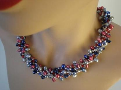 Nugget Pearl necklace combination, red, blue, silver 1