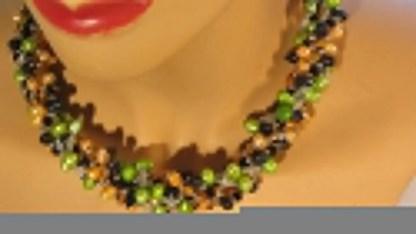 Nuggetparel combinatie, geelgroen, oranje, zwart 1