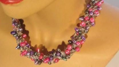 Nuggetparel combinatie, roze, paars, antraciet 1