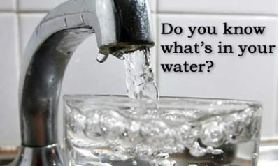 Tap filling a glass with caption saying what's in your water?