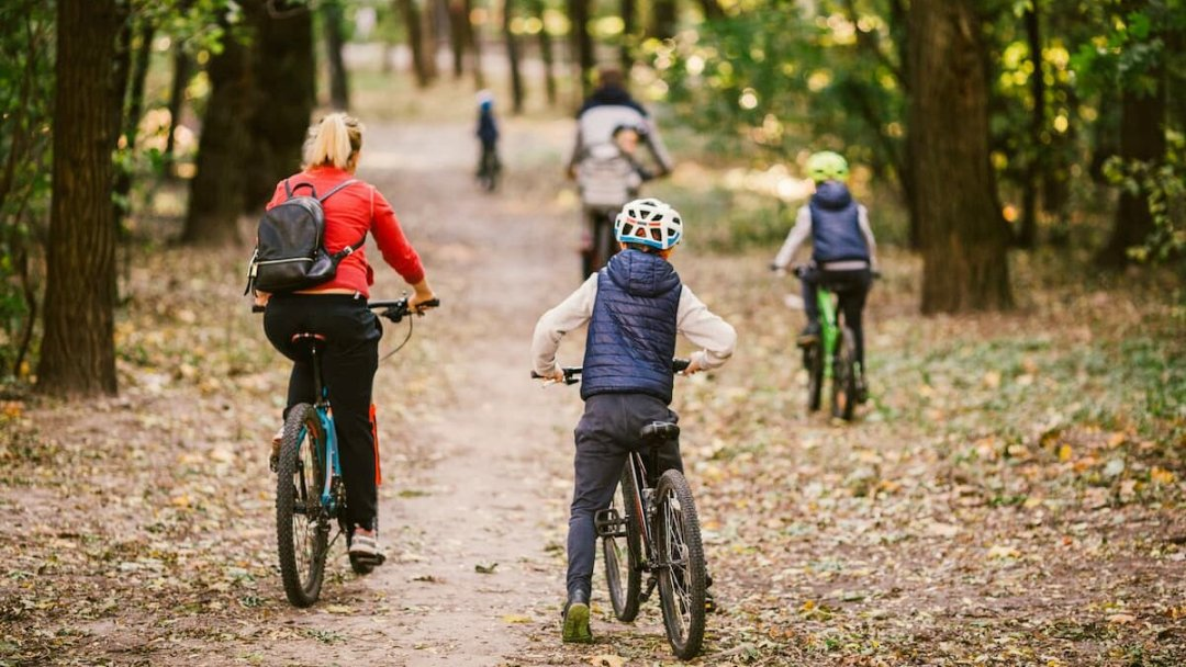 A family cycling near Westport, Ontario