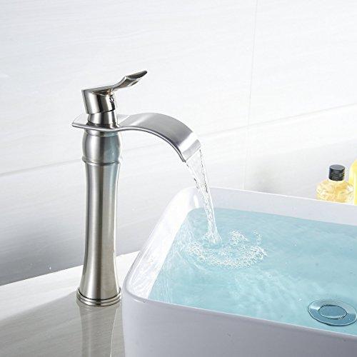 Wovier Brushed Nickel Waterfall Bathroom Sink Faucet,Single Handle Single  Hole Vessel Lavatory Faucet,