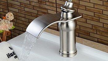 Aquafaucet Waterfall Bathroom Sink Faucet Brushed Nickel Glass Spout ...