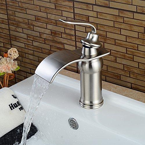 beelee bl0602n nickel brushed waterfall bathroom sink handle single hole vessel lavatory faucet
