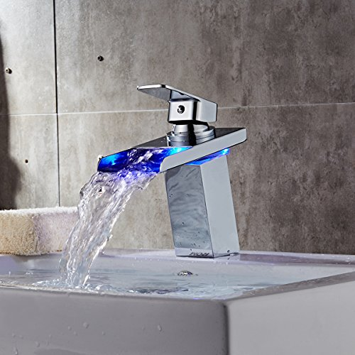 TAPCET LED Bathroom Sink Faucet Waterfall Faucet Water Power Vessel Sink Faucet Without Battery 3 Colors & Derpras DP-FC01 LED Sink Faucet3 Colors ChangingWater Power ... azcodes.com