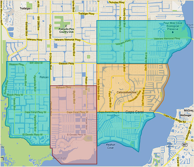 Lee County Florida Cape Coral Fort Myers Zip Code Map