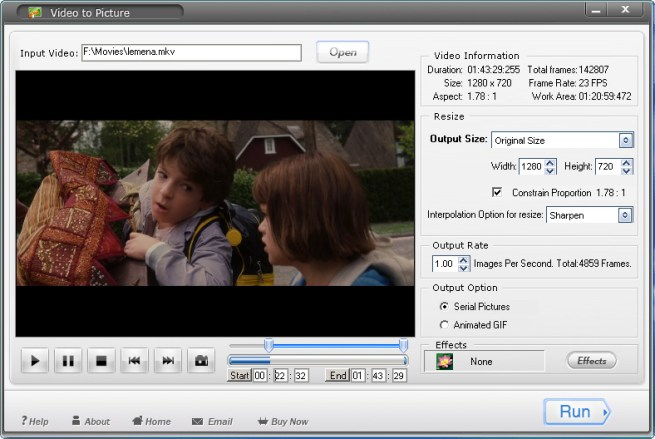 Main Interface of Video to Picture