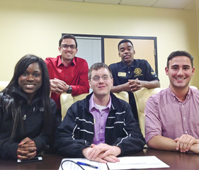 MOVE TO DEFUND: (1st row) SGA President Melissa Westbrook, A&SF Budget Committee Chair Jason Wojkiewicz, SGA Vice President Jacob Kahn. (2nd Row) UCF SGA Director of Communications Alexander Perna, UCF SGA Public Relations Coordinator Phillip Bent. Photo by David Thomas Moran