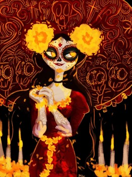 Day of the Dead iconography fills the screen.