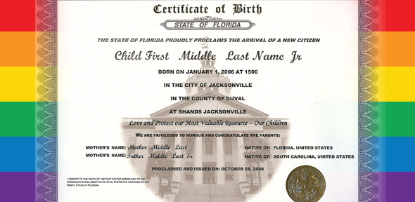 birth certificate certificates same florida couples arkansas illinois father sue watermark issues