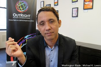 Caleb Orozco, an LGBT rights advocate who challenged Belize's sodomy law, speaks with the Washington Blade at the lower Manhattan offices of OutRight Action International on Sept. 21, 2016