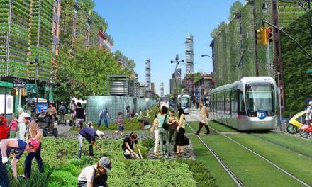 Amsterdam Avenue a New York: tappeti urbani, orti verticali, grattacieli verdi