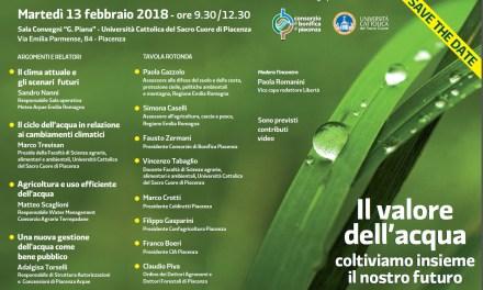 Il valore dell' acqua: convegno in Cattolica a Piacenza