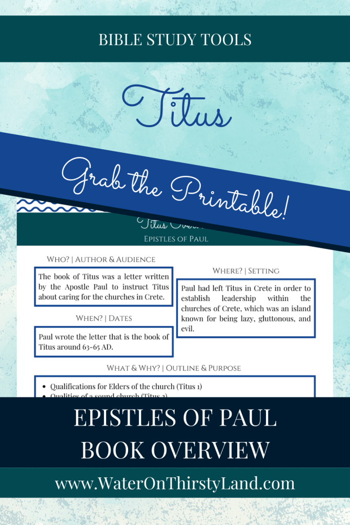 Titus Book Overview Printable