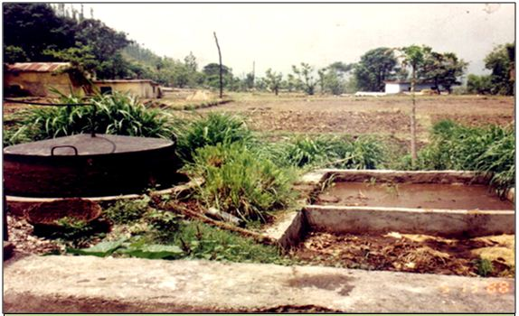 Biogas plant in a village watershed