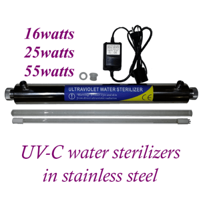UV-C water sterilizers in stainless steel