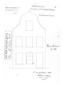 voorgevel 1886 - vierde kwart negentiende eeuw - bouwaanvraag SAG G12 1886-B60. Beeld: Stadsarchief Gent, opname: 1995