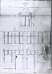 voorgevel - eerste kwart zeventiende eeuw - bouwaanvraag SAG R 535/217-2 (1705). Beeld: CMS, opname: 1995