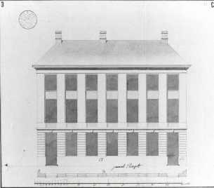 1787 - gevelplan - derde kwart achttiende eeuw - bouwaanvraag SAG 535 55/3 (1787). Beeld: Stadsarchief Gent