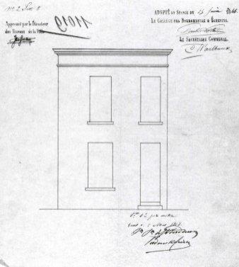 1866 - gevelplan - derde kwart negentiende eeuw - bouwaanvraag SAG G12 11011 (1866). Beeld: Stadsarchief Gent