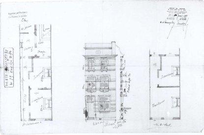 1894 - voorgevel en plan - vierde kwart negentiende eeuw - SAG G12 1894 - S31. Beeld: Stadsarchief Gent, opname: 1995