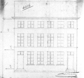 voorgevel - eerste kwart negentiende eeuw - SAG G12 nr. 4616 (1818) - met bijkomende verdieping. Beeld: Stadsarchief Gent, opname: 1995