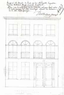 voorgevel - tweede kwart negentiende eeuw - SAG G12 4627 (1843). Beeld: Stadsarchief Gent, opname: 1995
