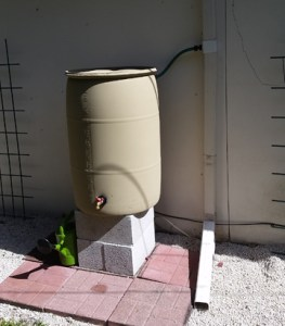 Water Wise after the padded rain barrel installation