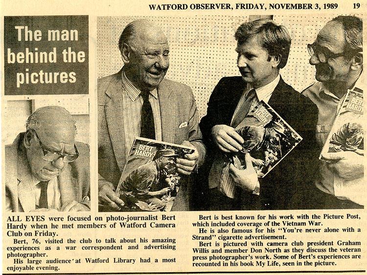 Bert Hardy in Watford Observer 3rd November 1989