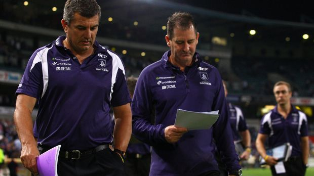 Dockers assistant coach Peter Sumich with Freo coach Ross Lyon.
