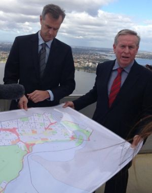 Colin Barnett first announced the plans from the rooftop of Perth's Central Park office tower on Sunday