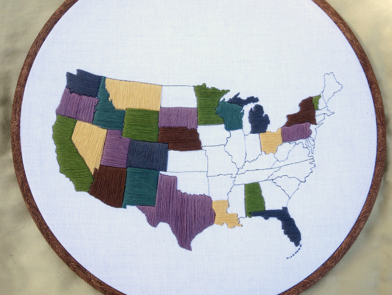 United States Travel Map Embroidery Kit The roaming nomads of Watston's Wander offer this great way to track your travels!