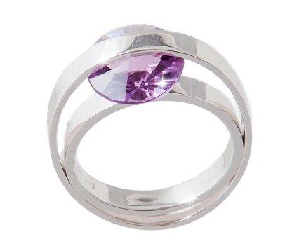 """Ring in witgoud met amethyst, de steen zit """"los"""" tussen de beide ringen zodat hij kan draaien"""