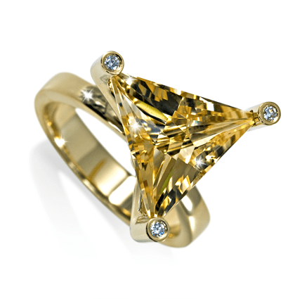 Geelgouden ring met citrien en diamant