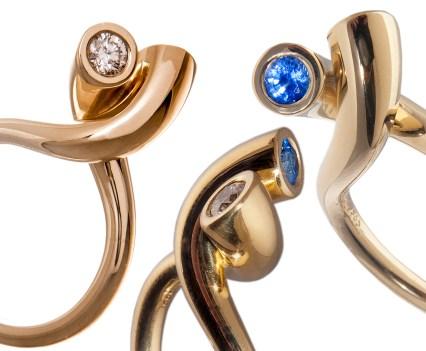 Geelgouden ring met saffier en briljant