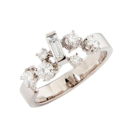 Witgouden strooiring met diamant in verschillende slijpvormen