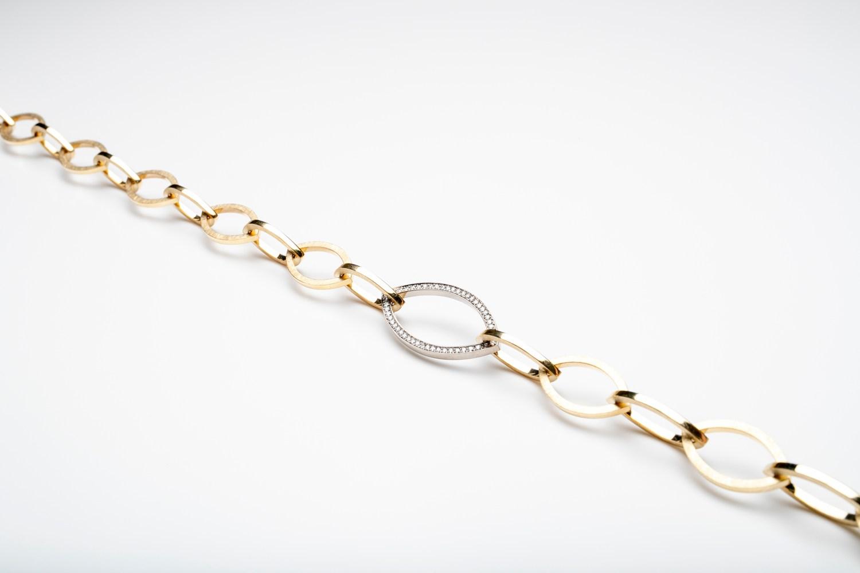 bicolor schakelcollier met 1 ct diamant