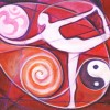 Image of female body on background of pinks/reds surrounded by om symbol, spiral, and yin/yang symbol