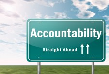 "Highway sign that says ""Accountability Straight Ahead"""