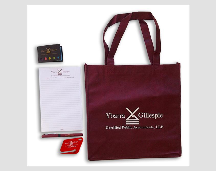 logo on shopping bag, logo on pen, logo on stickies