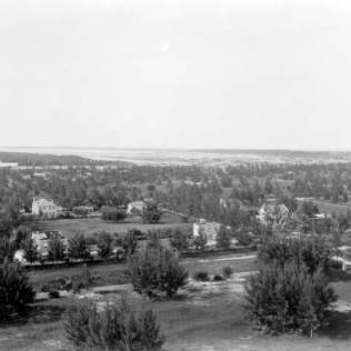 Flamingo Hotel looking north. Collins Bridge and Sunset Islands in the background, 1922.