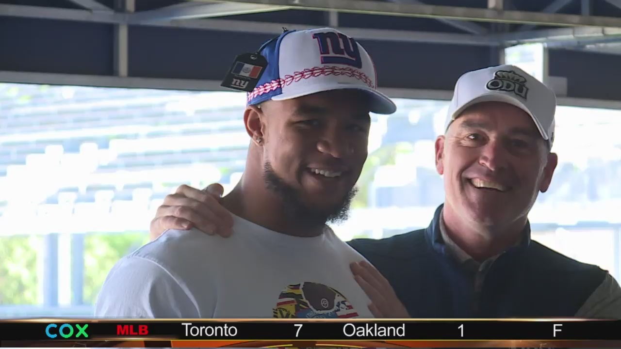 ODU's Ximines celebrates draft selection to New York Giants