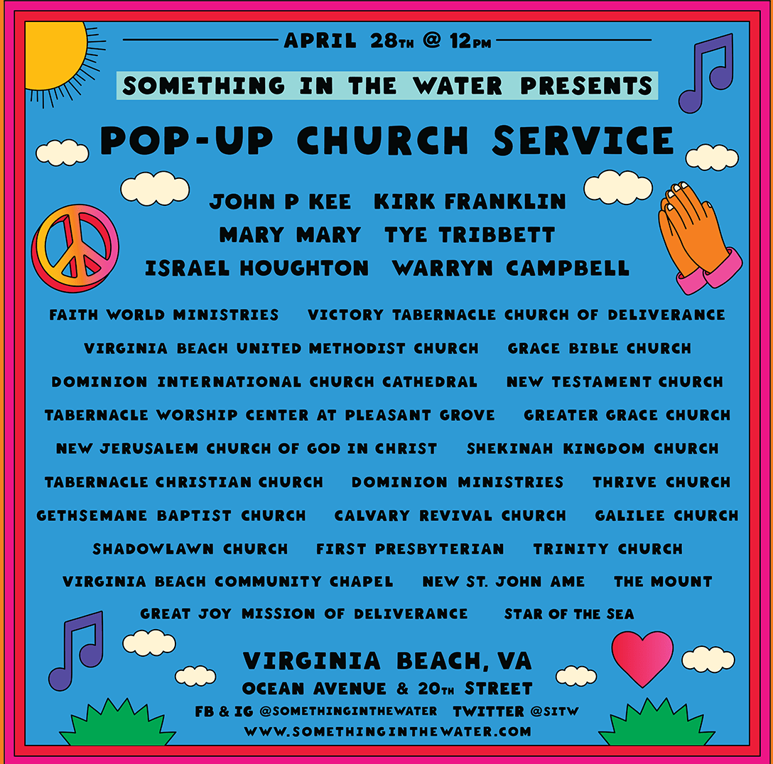 Something in the Water's free 'Pop-Up Church' to feature big