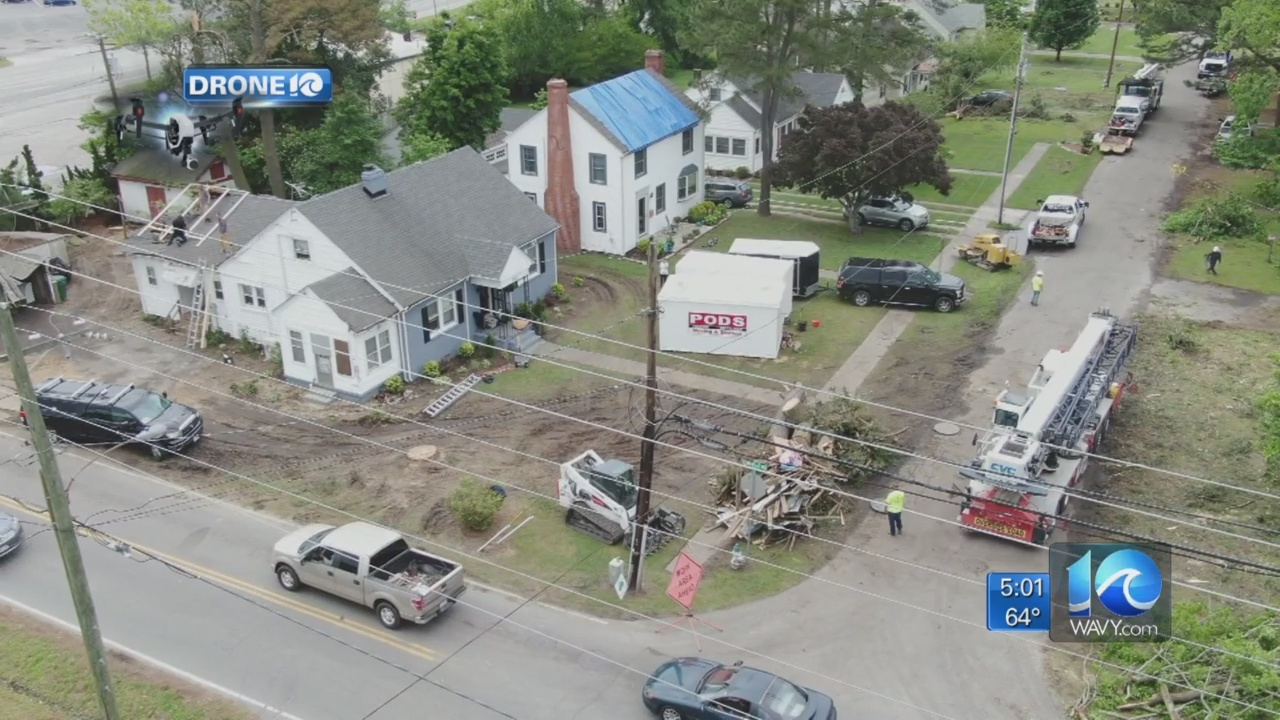 Cleanup continues after tornado damages businesses, homes in Suffolk