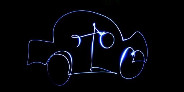 Umrisse Auto Lichtmalerei