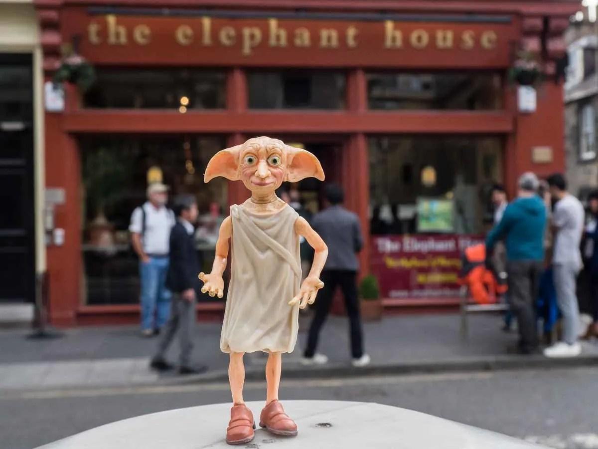 Dobby from Harry Potter at Elephant House Cafe Edinburgh