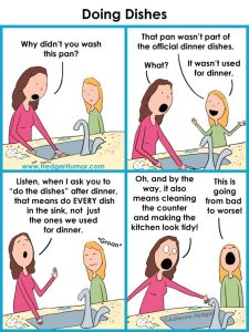 a comic strip of a mother and daughter at a sink. The mum asks her daughter, why didnt you wash this pan? The daughter responds, that pan wasn't part of the official dinner dishes! Mum says, listen, when i ask you to do the dishes after dinner, that means every dish in the sink, not just the ones for dinner AND it also means cleaning the counter and making the kitchen look tidy! The daughter groans.