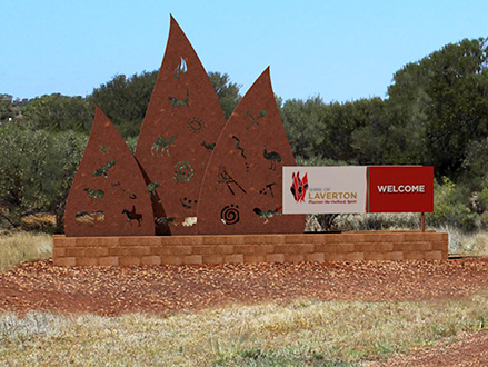 Shire of Laverton town signage