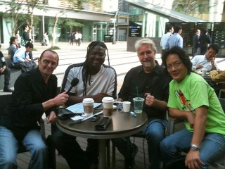 """Metpod radio Podcast recording for Metropolis Magazine with Kaleb, Kong and Philip Woo. Promotion in Japan for newly released CD """"Saturday Street""""."""