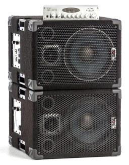 Wayne Jones Audio - 1x10 pair stacked with WJBP Bass Guitar Pre-Amp. 1000 Watt 1x10 / 500 Watts per side